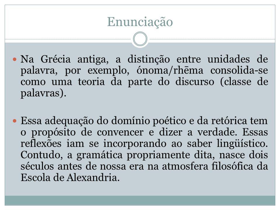 Enunciação Na Grécia antiga, a distinção entre unidades de palavra, por exemplo, ónoma/rhēma consolida-se como uma teoria da parte do discurso (classe