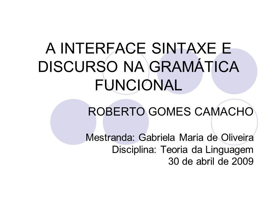 A INTERFACE SINTAXE E DISCURSO NA GRAMÁTICA FUNCIONAL ROBERTO GOMES CAMACHO Mestranda: Gabriela Maria de Oliveira Disciplina: Teoria da Linguagem 30 d