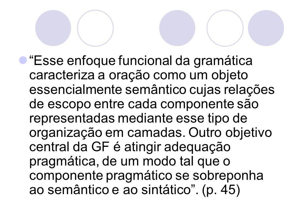 Esse enfoque funcional da gramática caracteriza a oração como um objeto essencialmente semântico cujas relações de escopo entre cada componente são re