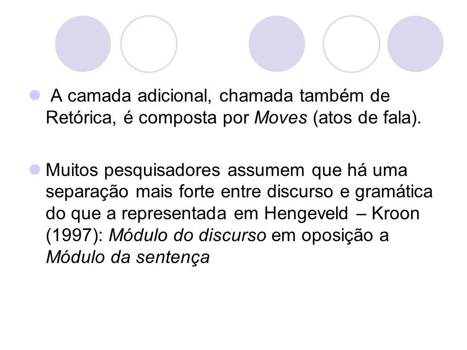 A camada adicional, chamada também de Retórica, é composta por Moves (atos de fala). Muitos pesquisadores assumem que há uma separação mais forte entr