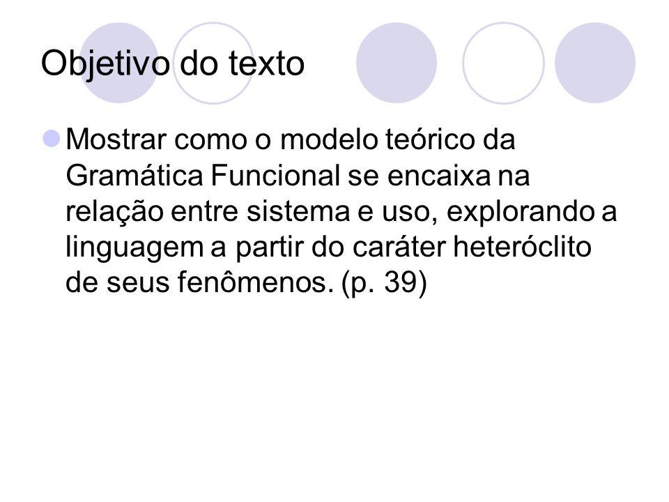 Objetivo do texto Mostrar como o modelo teórico da Gramática Funcional se encaixa na relação entre sistema e uso, explorando a linguagem a partir do c