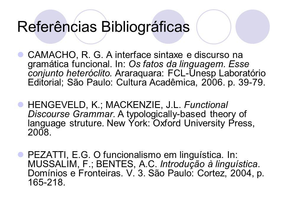 Referências Bibliográficas CAMACHO, R. G. A interface sintaxe e discurso na gramática funcional. In: Os fatos da linguagem. Esse conjunto heteróclito.
