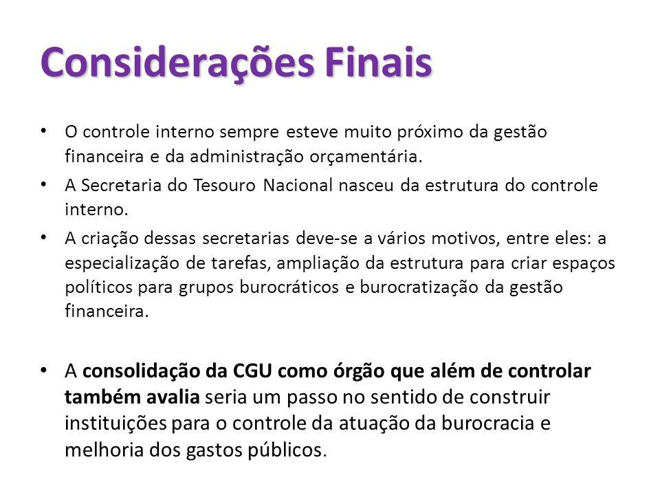 Considerações Finais O controle interno sempre esteve muito próximo da gestão financeira e da administração orçamentária. A Secretaria do Tesouro Naci