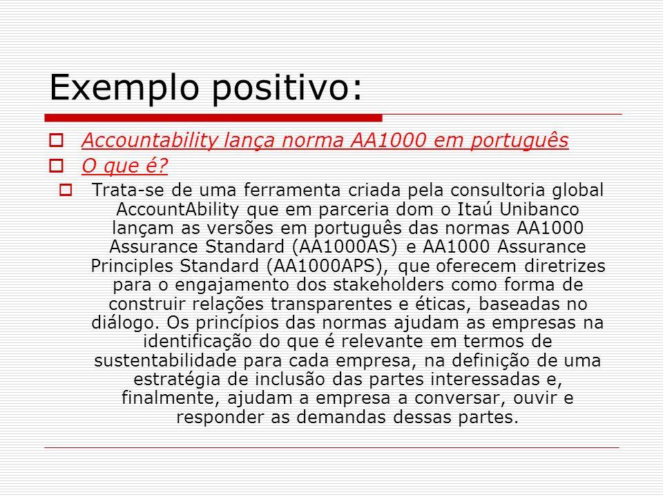 Exemplo positivo: Accountability lança norma AA1000 em português O que é? Trata-se de uma ferramenta criada pela consultoria global AccountAbility que