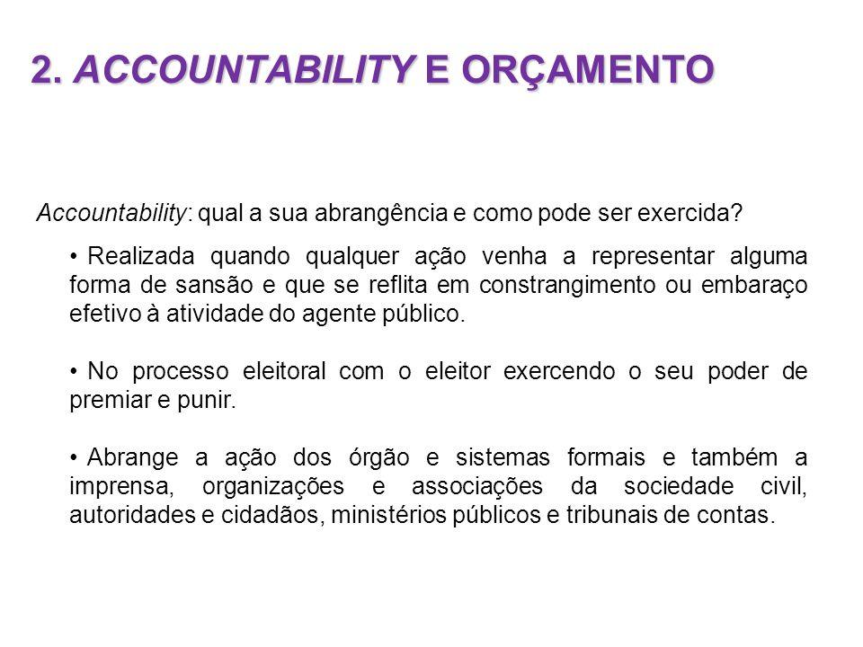 2. ACCOUNTABILITY E ORÇAMENTO Accountability: qual a sua abrangência e como pode ser exercida? Realizada quando qualquer ação venha a representar algu