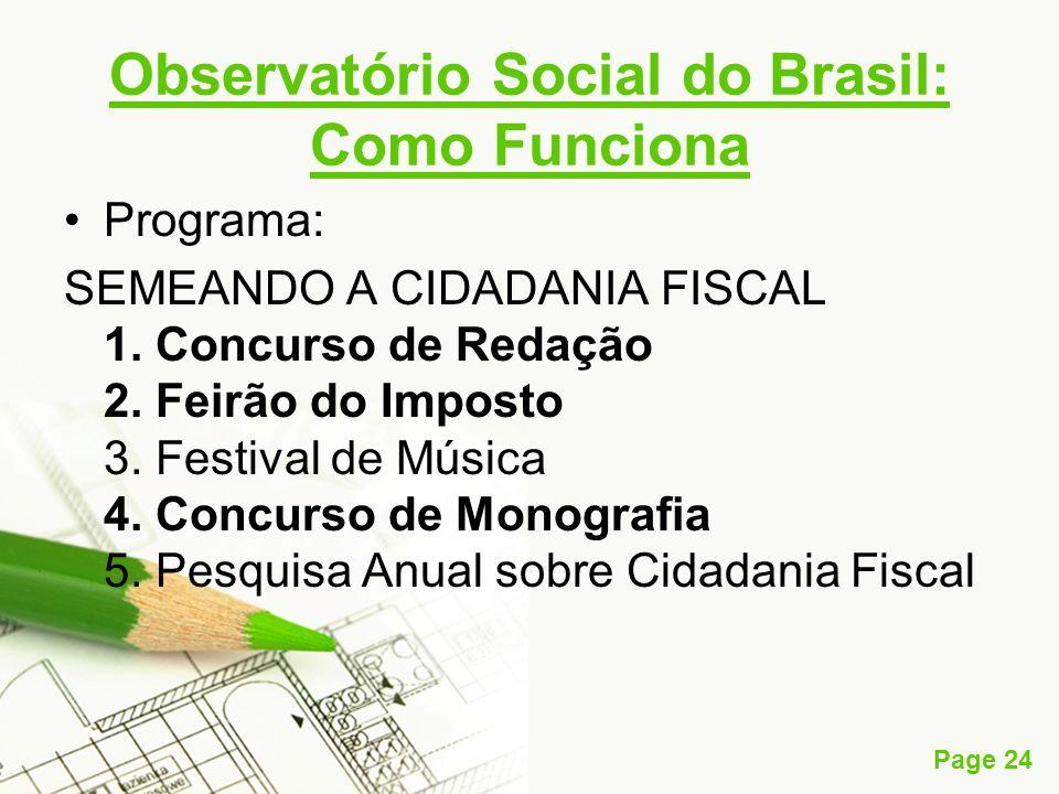 Page 24 Observatório Social do Brasil: Como Funciona Programa: SEMEANDO A CIDADANIA FISCAL 1. Concurso de Redação 2. Feirão do Imposto 3. Festival de