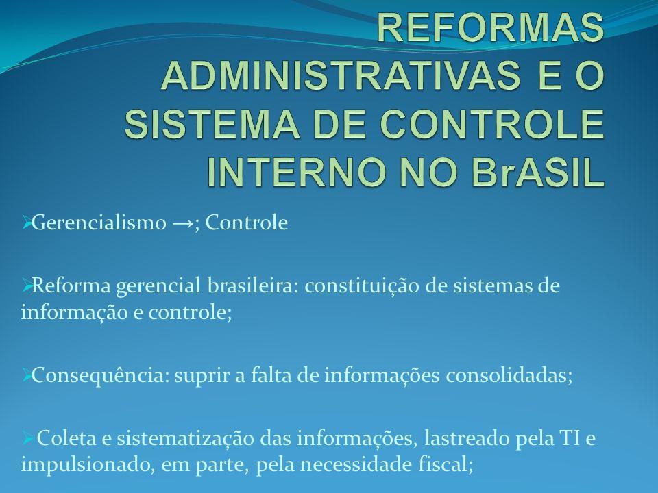 Gerencialismo ; Controle Reforma gerencial brasileira: constituição de sistemas de informação e controle; Consequência: suprir a falta de informações consolidadas; Coleta e sistematização das informações, lastreado pela TI e impulsionado, em parte, pela necessidade fiscal;