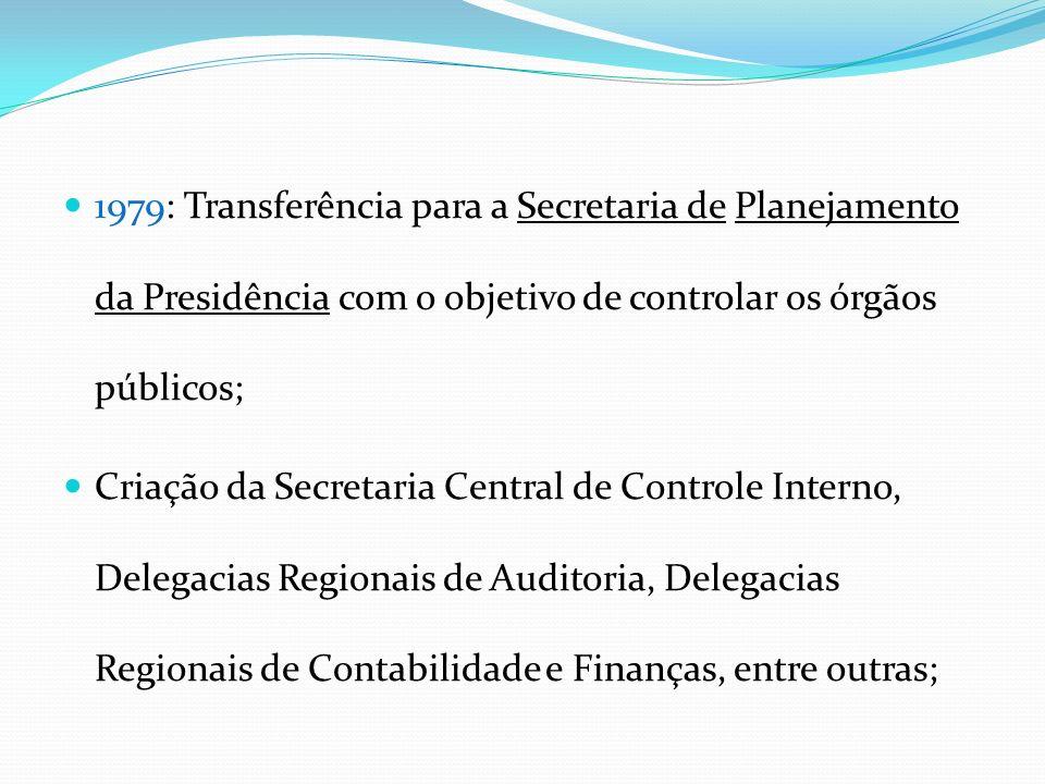 1979: Transferência para a Secretaria de Planejamento da Presidência com o objetivo de controlar os órgãos públicos; Criação da Secretaria Central de Controle Interno, Delegacias Regionais de Auditoria, Delegacias Regionais de Contabilidade e Finanças, entre outras;