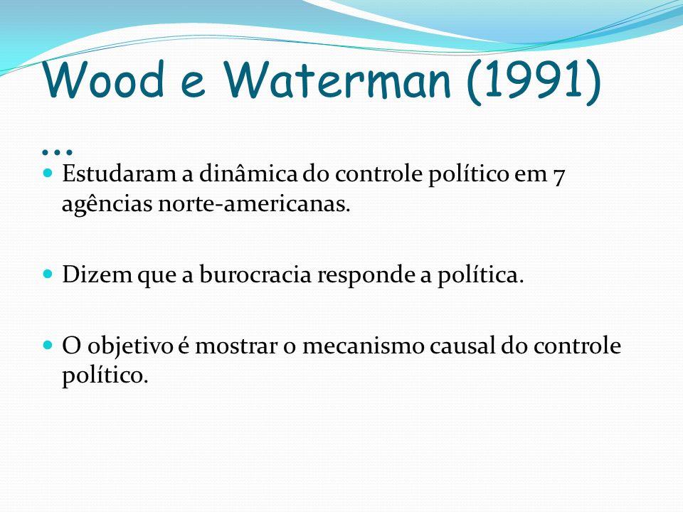 Wood e Waterman (1991)...Estudaram a dinâmica do controle político em 7 agências norte-americanas.