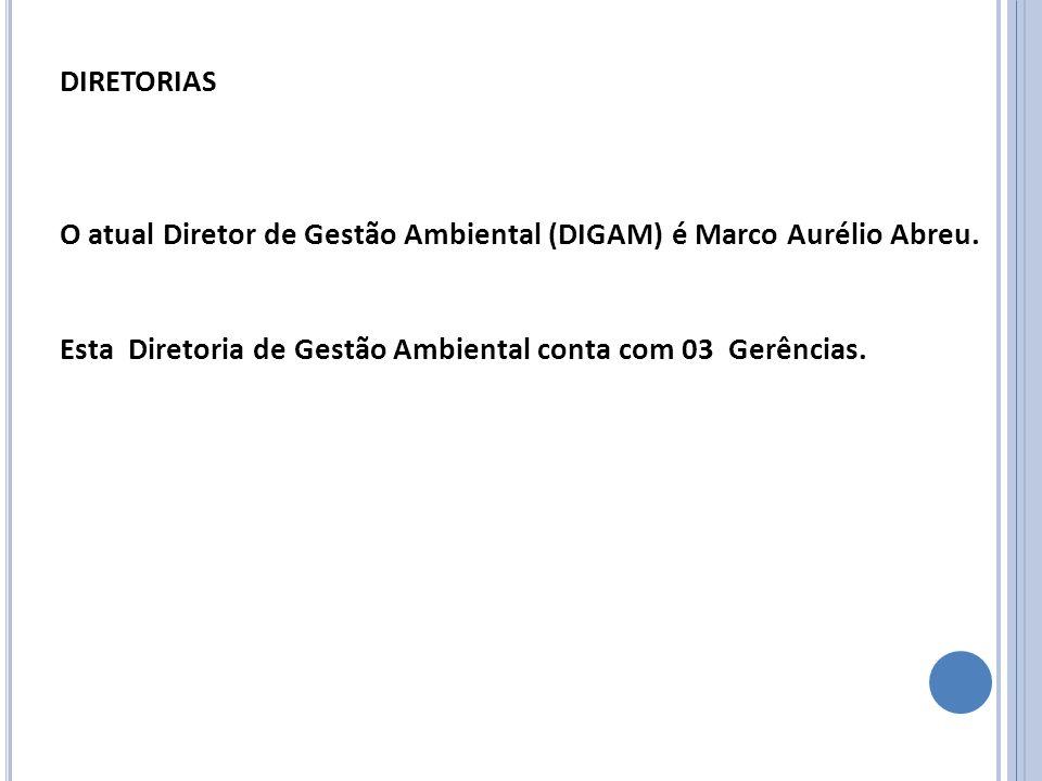 DIRETORIAS O atual Diretor de Gestão Ambiental (DIGAM) é Marco Aurélio Abreu. Esta Diretoria de Gestão Ambiental conta com 03 Gerências.