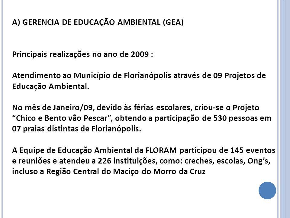 A) GERENCIA DE EDUCAÇÃO AMBIENTAL (GEA) Principais realizações no ano de 2009 : Atendimento ao Município de Florianópolis através de 09 Projetos de Ed