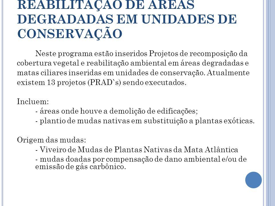 REABILITAÇÃO DE ÁREAS DEGRADADAS EM UNIDADES DE CONSERVAÇÃO Neste programa estão inseridos Projetos de recomposição da cobertura vegetal e reabilitaçã