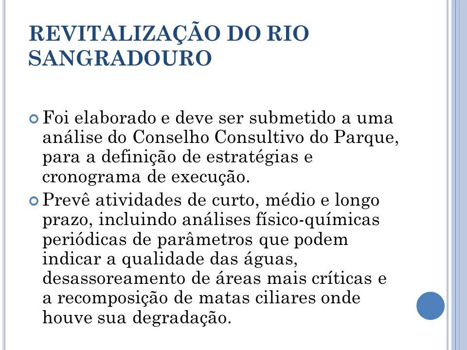 REVITALIZAÇÃO DO RIO SANGRADOURO Foi elaborado e deve ser submetido a uma análise do Conselho Consultivo do Parque, para a definição de estratégias e