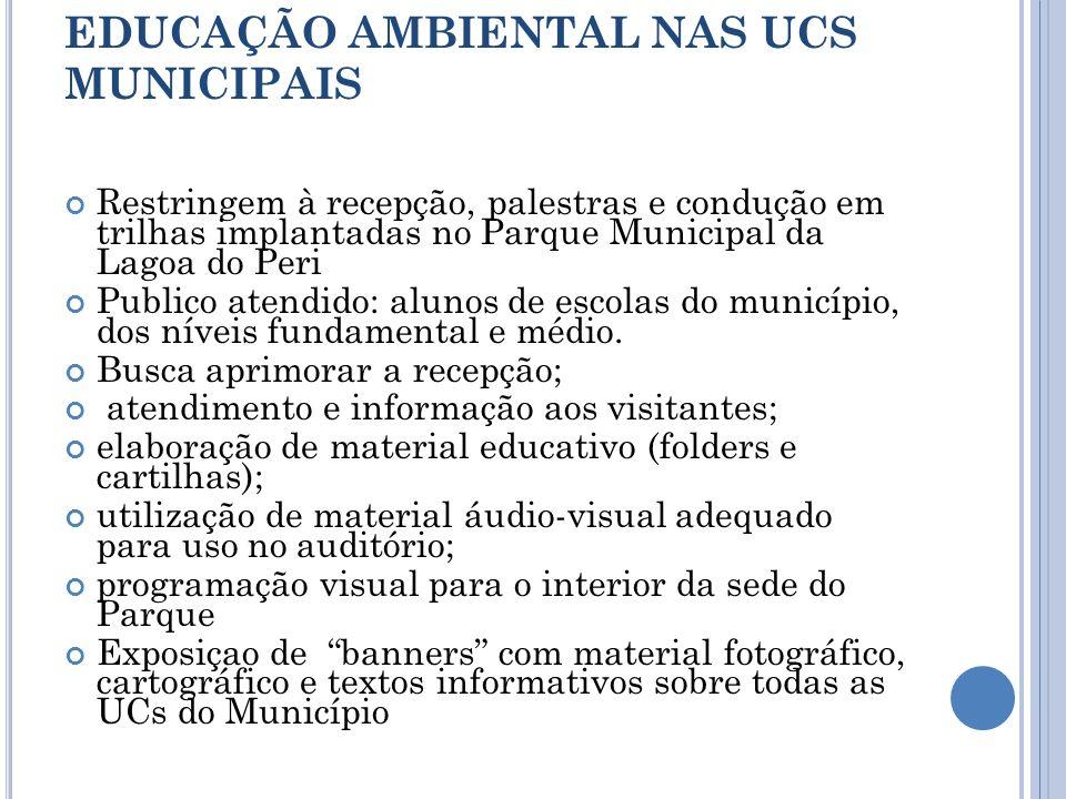EDUCAÇÃO AMBIENTAL NAS UCS MUNICIPAIS Restringem à recepção, palestras e condução em trilhas implantadas no Parque Municipal da Lagoa do Peri Publico