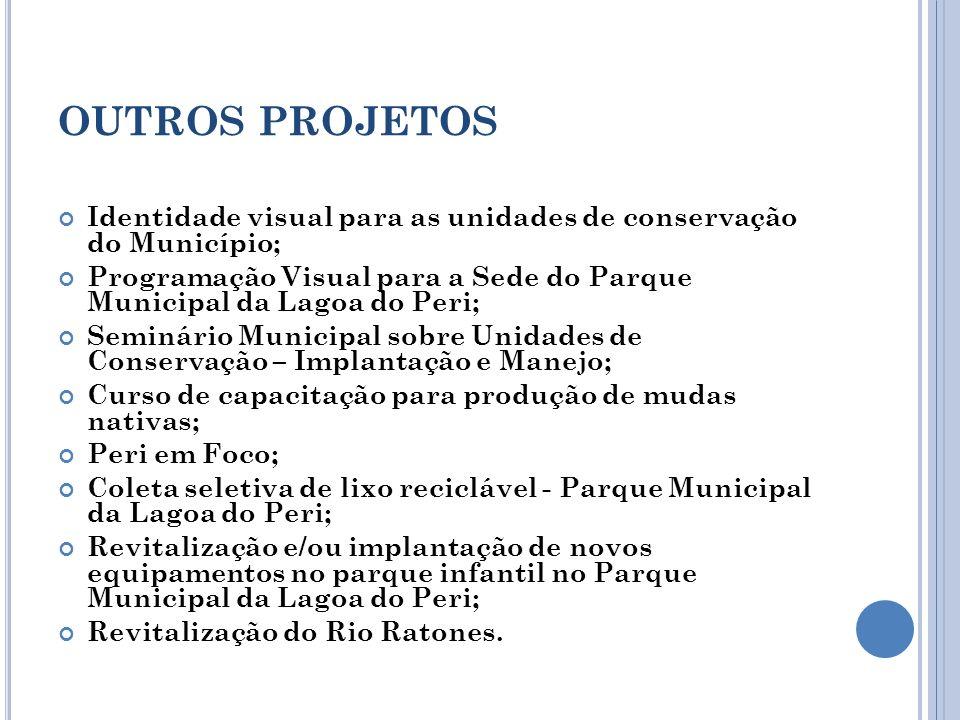 OUTROS PROJETOS Identidade visual para as unidades de conservação do Município; Programação Visual para a Sede do Parque Municipal da Lagoa do Peri; S