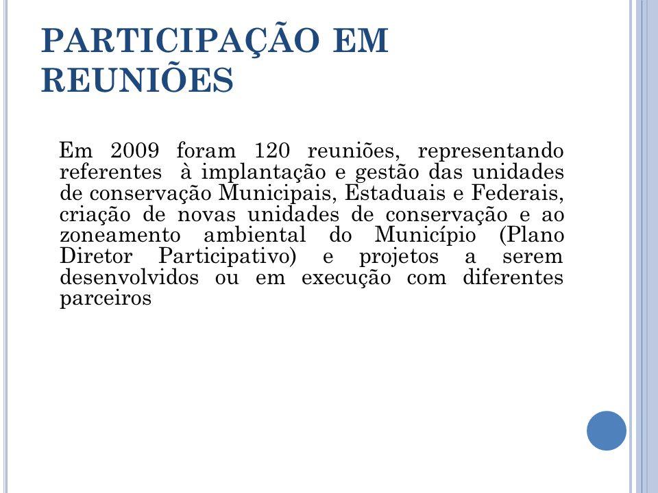 PARTICIPAÇÃO EM REUNIÕES Em 2009 foram 120 reuniões, representando referentes à implantação e gestão das unidades de conservação Municipais, Estaduais