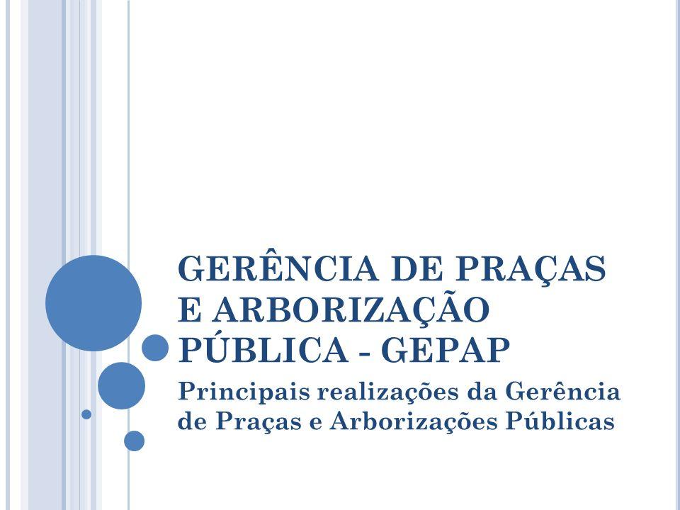 GERÊNCIA DE PRAÇAS E ARBORIZAÇÃO PÚBLICA - GEPAP Principais realizações da Gerência de Praças e Arborizações Públicas