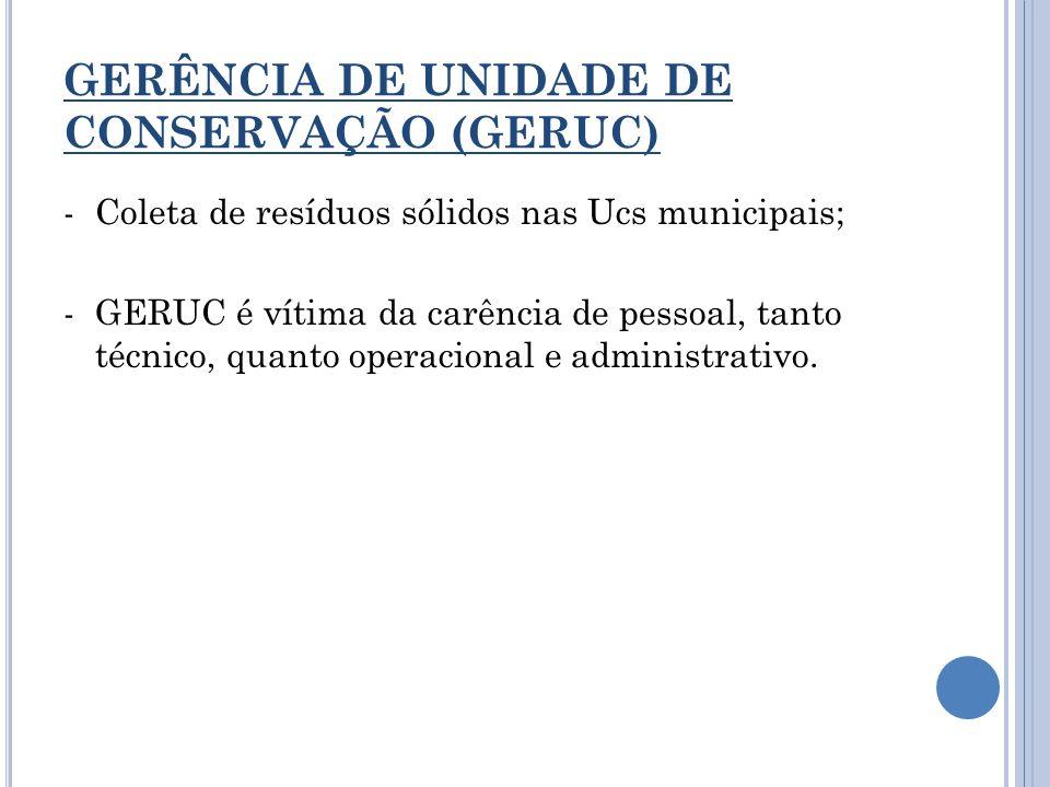 GERÊNCIA DE UNIDADE DE CONSERVAÇÃO (GERUC) -Coleta de resíduos sólidos nas Ucs municipais; -GERUC é vítima da carência de pessoal, tanto técnico, quan