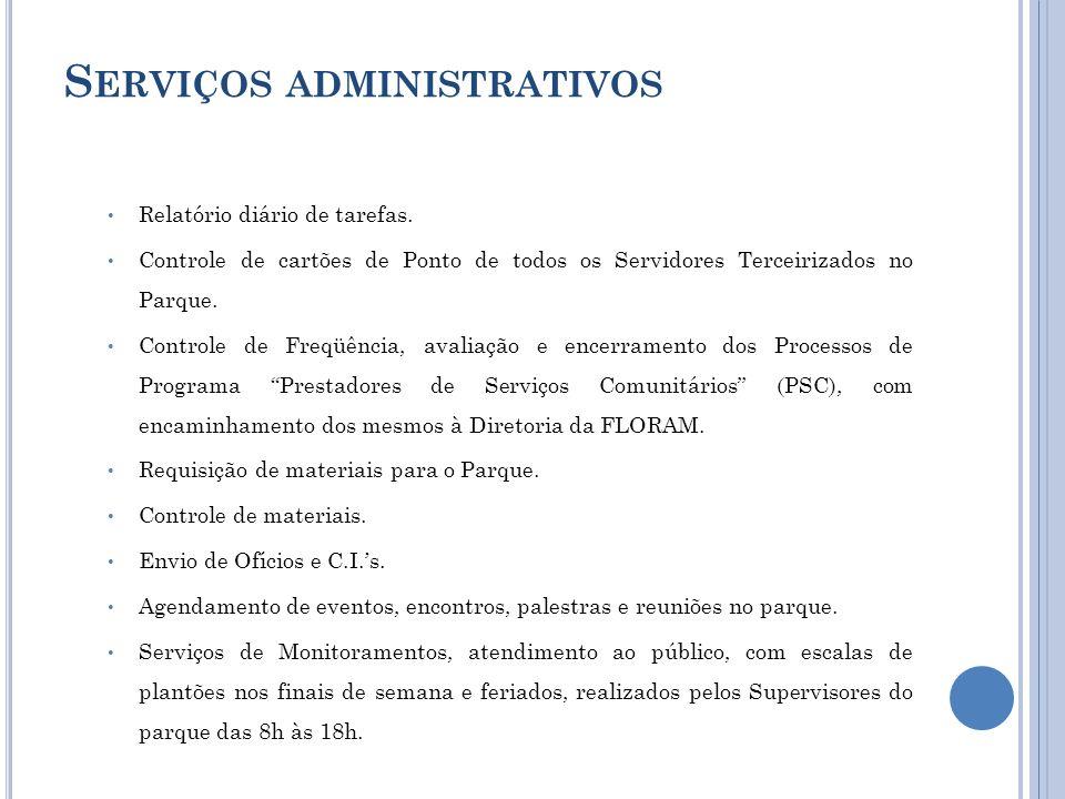 S ERVIÇOS ADMINISTRATIVOS Relatório diário de tarefas. Controle de cartões de Ponto de todos os Servidores Terceirizados no Parque. Controle de Freqüê