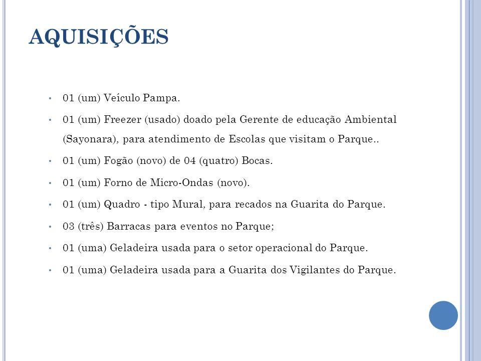 AQUISIÇÕES 01 (um) Veículo Pampa. 01 (um) Freezer (usado) doado pela Gerente de educação Ambiental (Sayonara), para atendimento de Escolas que visitam