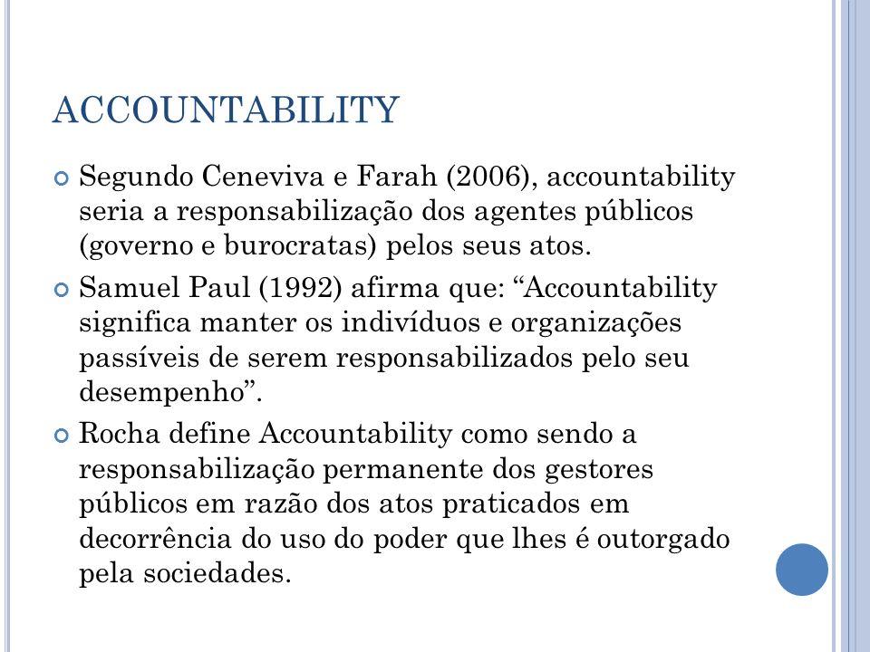 ACCOUNTABILITY Segundo Ceneviva e Farah (2006), accountability seria a responsabilização dos agentes públicos (governo e burocratas) pelos seus atos.