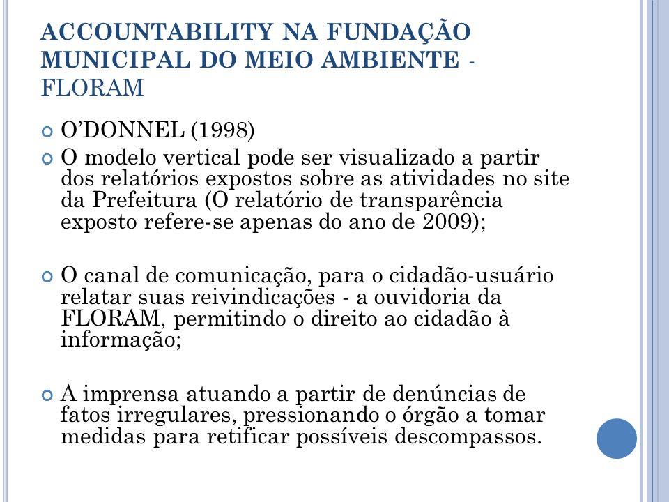 ACCOUNTABILITY NA FUNDAÇÃO MUNICIPAL DO MEIO AMBIENTE - FLORAM ODONNEL (1998) O modelo vertical pode ser visualizado a partir dos relatórios expostos