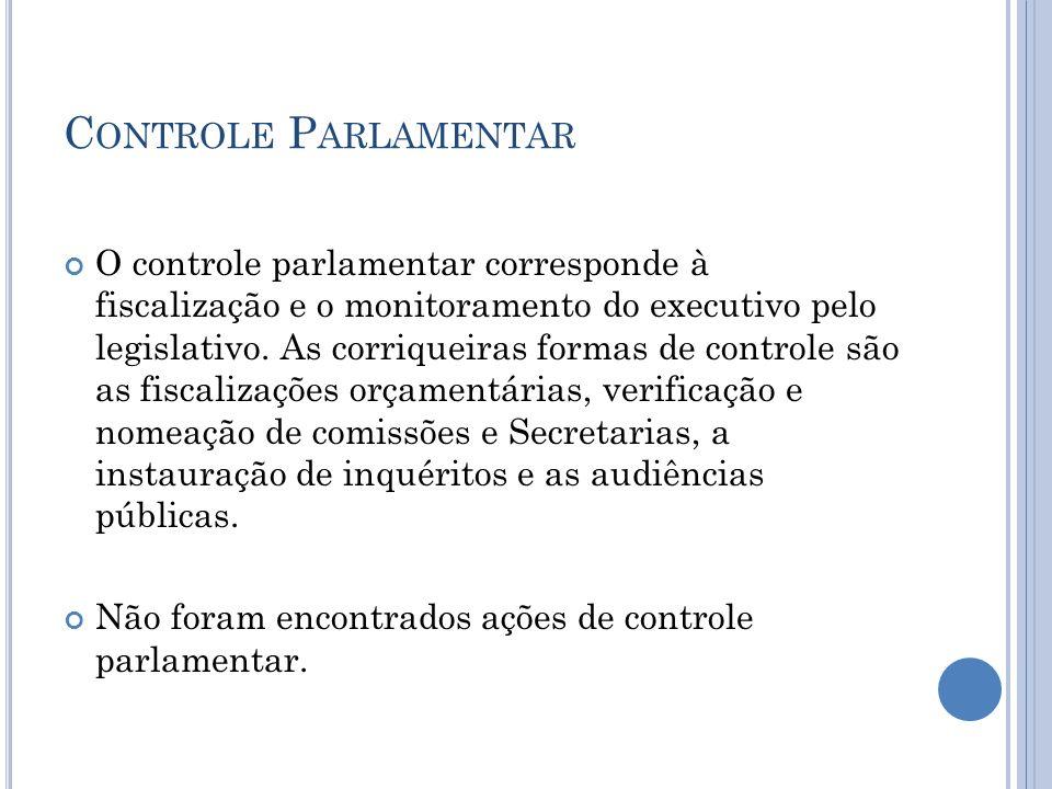 C ONTROLE P ARLAMENTAR O controle parlamentar corresponde à fiscalização e o monitoramento do executivo pelo legislativo. As corriqueiras formas de co