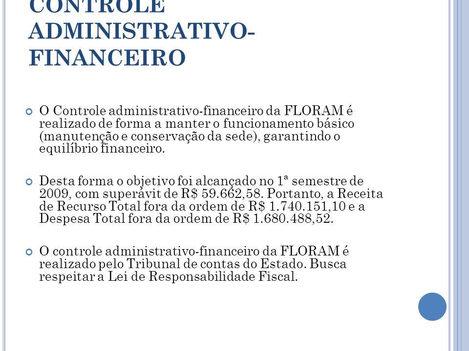 CONTROLE ADMINISTRATIVO- FINANCEIRO O Controle administrativo-financeiro da FLORAM é realizado de forma a manter o funcionamento básico (manutenção e
