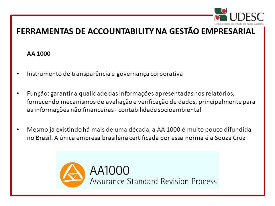 FERRAMENTAS DE ACCOUNTABILITY NA GESTÃO EMPRESARIAL AA 1000 Instrumento de transparência e governança corporativa Função: garantir a qualidade das inf