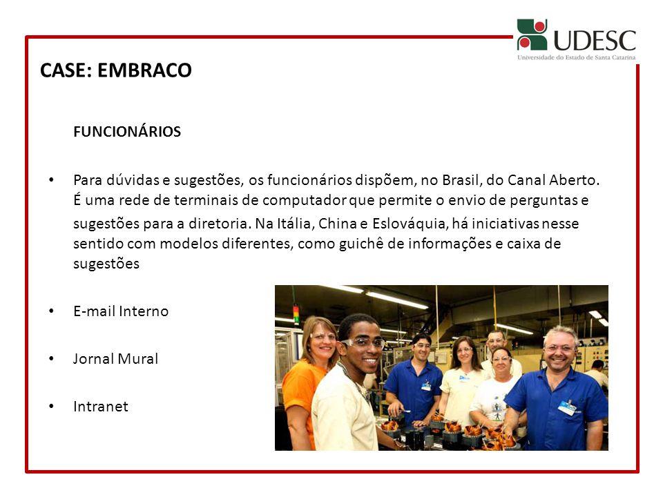 CASE: EMBRACO FUNCIONÁRIOS Para dúvidas e sugestões, os funcionários dispõem, no Brasil, do Canal Aberto. É uma rede de terminais de computador que pe