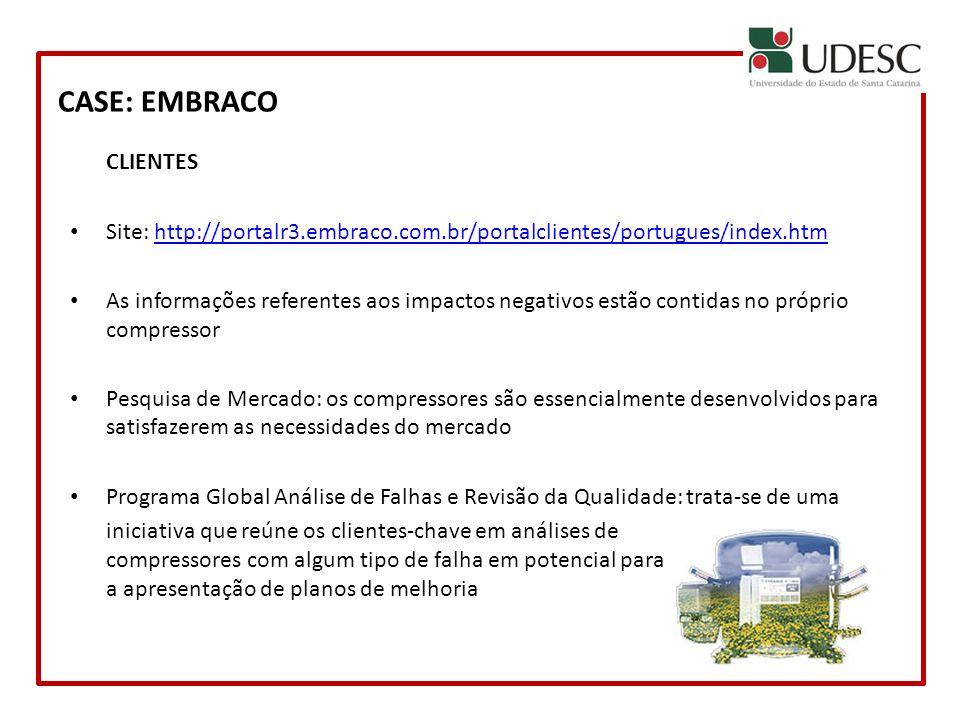 CASE: EMBRACO CLIENTES Site: http://portalr3.embraco.com.br/portalclientes/portugues/index.htmhttp://portalr3.embraco.com.br/portalclientes/portugues/