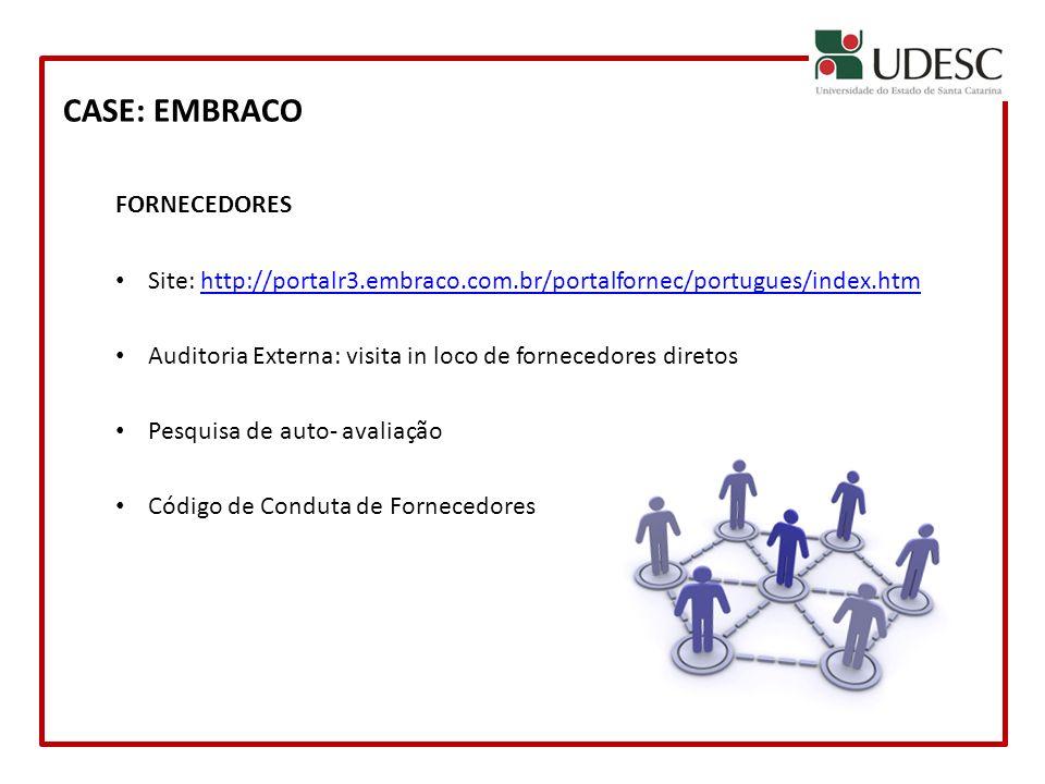CASE: EMBRACO FORNECEDORES Site: http://portalr3.embraco.com.br/portalfornec/portugues/index.htmhttp://portalr3.embraco.com.br/portalfornec/portugues/