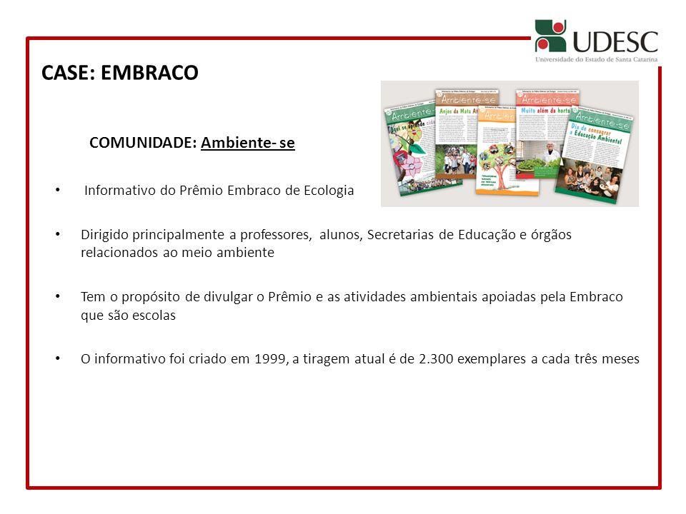 CASE: EMBRACO COMUNIDADE: Ambiente- se Informativo do Prêmio Embraco de Ecologia Dirigido principalmente a professores, alunos, Secretarias de Educaçã