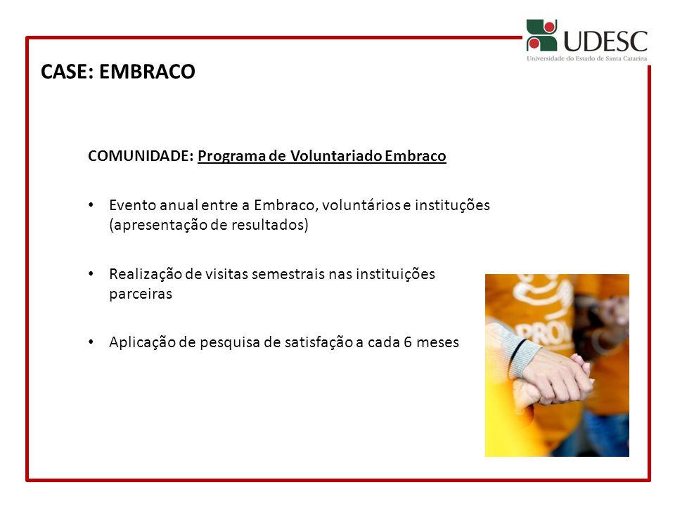 CASE: EMBRACO COMUNIDADE: Programa de Voluntariado Embraco Evento anual entre a Embraco, voluntários e instituções (apresentação de resultados) Realiz
