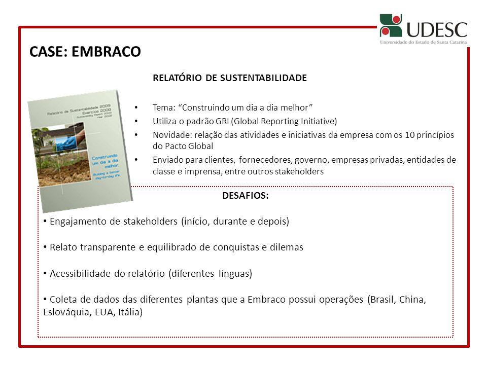CASE: EMBRACO RELATÓRIO DE SUSTENTABILIDADE Tema: Construindo um dia a dia melhor Utiliza o padrão GRI (Global Reporting Initiative) Novidade: relação