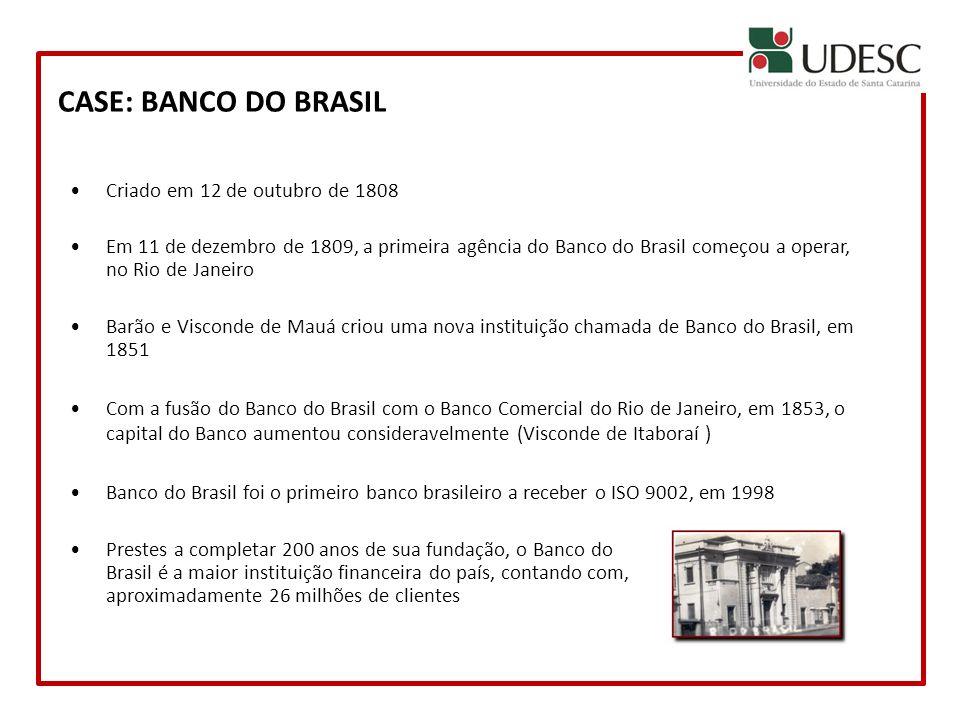CASE: BANCO DO BRASIL Criado em 12 de outubro de 1808 Em 11 de dezembro de 1809, a primeira agência do Banco do Brasil começou a operar, no Rio de Jan