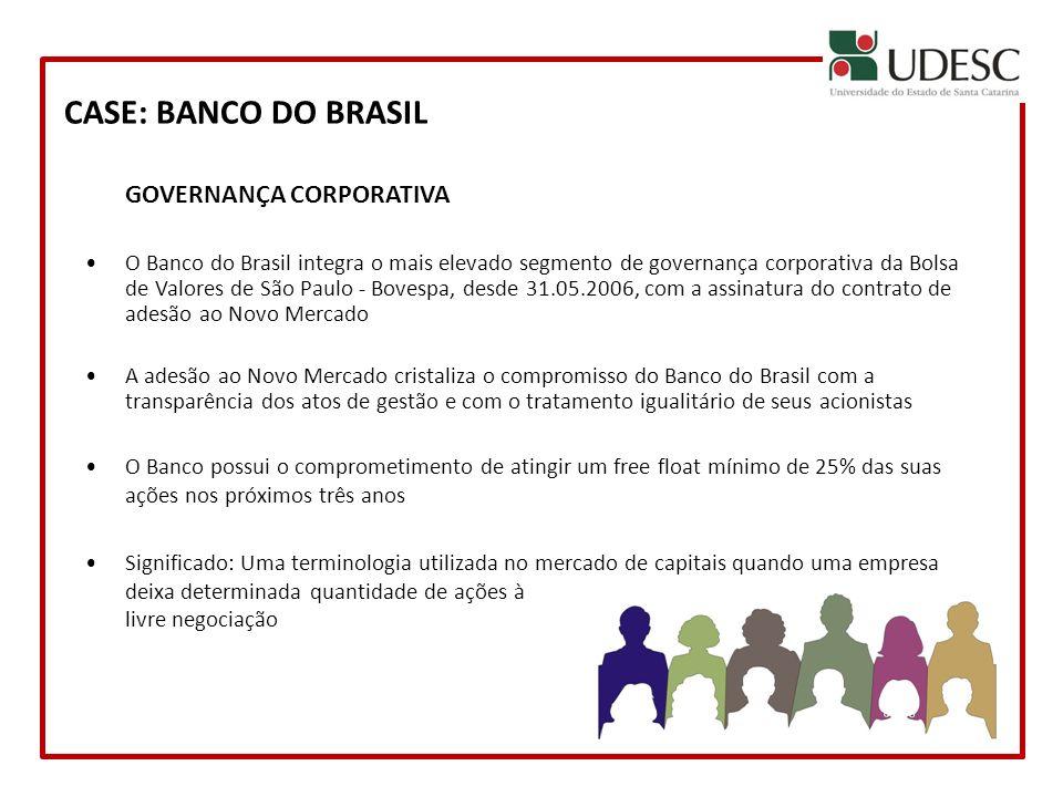 CASE: BANCO DO BRASIL GOVERNANÇA CORPORATIVA O Banco do Brasil integra o mais elevado segmento de governança corporativa da Bolsa de Valores de São Pa