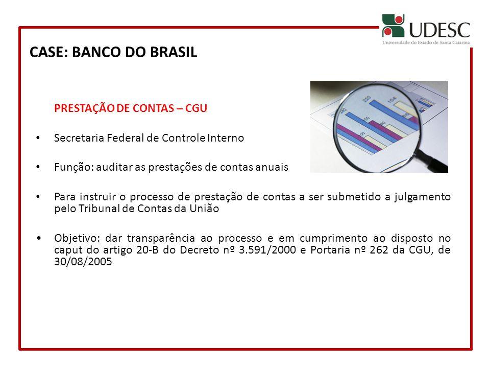 PRESTAÇÃO DE CONTAS – CGU Secretaria Federal de Controle Interno Função: auditar as prestações de contas anuais Para instruir o processo de prestação