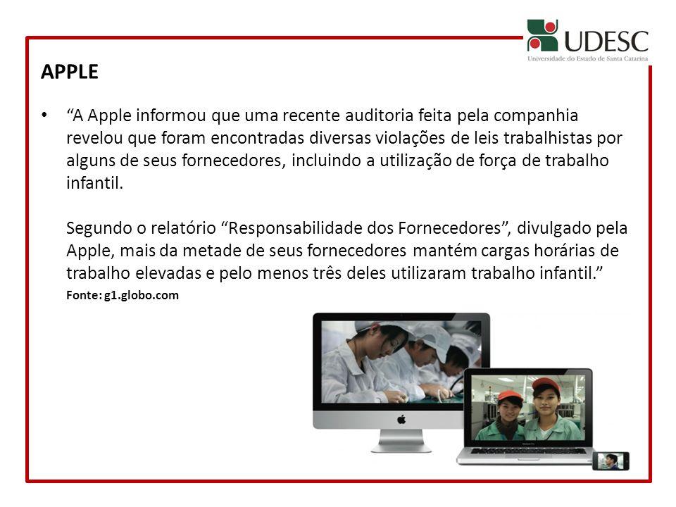 APPLE A Apple informou que uma recente auditoria feita pela companhia revelou que foram encontradas diversas violações de leis trabalhistas por alguns