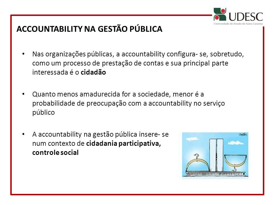 ACCOUNTABILITY NA GESTÃO PÚBLICA Nas organizações públicas, a accountability configura- se, sobretudo, como um processo de prestação de contas e sua p