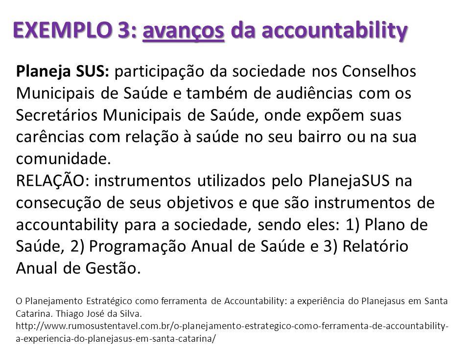 EXEMPLO 3: avanços da accountability Planeja SUS: participação da sociedade nos Conselhos Municipais de Saúde e também de audiências com os Secretário