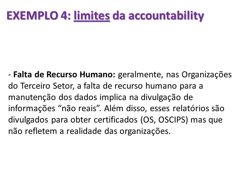 EXEMPLO 4: limites da accountability - Falta de Recurso Humano: geralmente, nas Organizações do Terceiro Setor, a falta de recurso humano para a manut