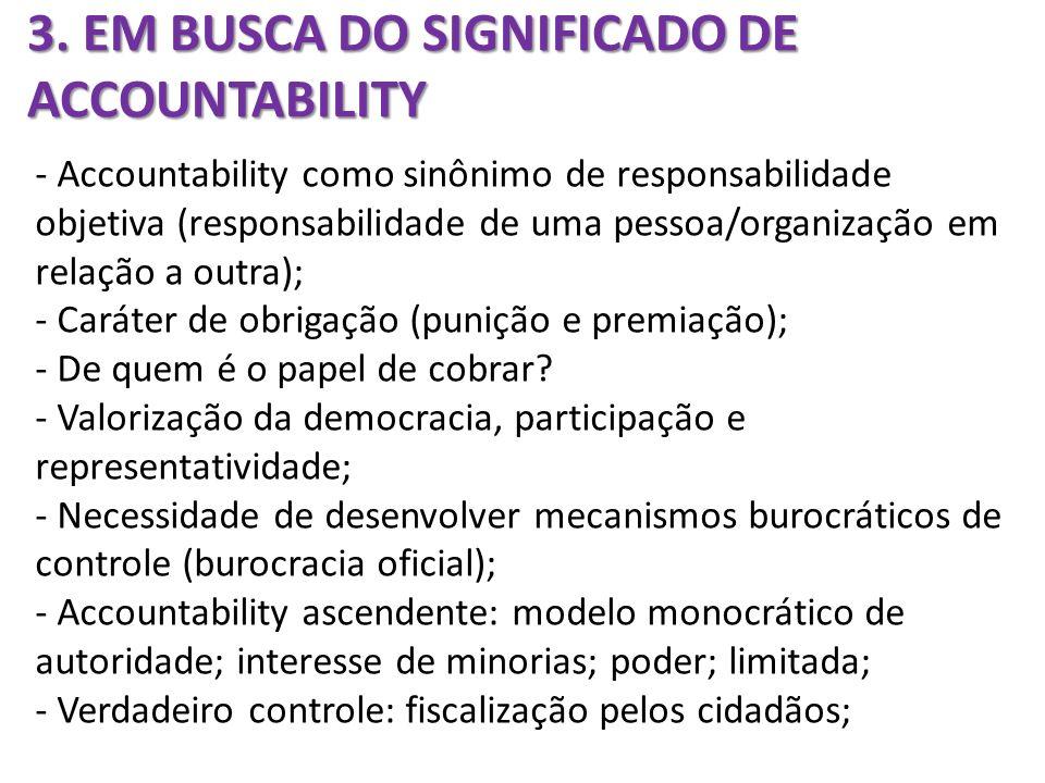3. EM BUSCA DO SIGNIFICADO DE ACCOUNTABILITY - Accountability como sinônimo de responsabilidade objetiva (responsabilidade de uma pessoa/organização e