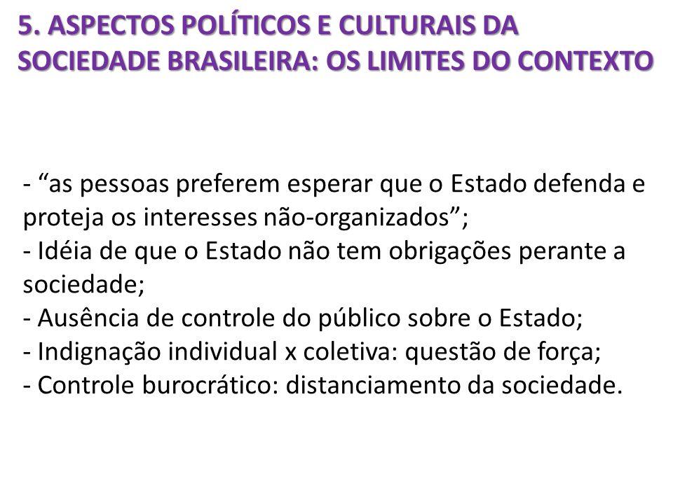 5. ASPECTOS POLÍTICOS E CULTURAIS DA SOCIEDADE BRASILEIRA: OS LIMITES DO CONTEXTO - as pessoas preferem esperar que o Estado defenda e proteja os inte