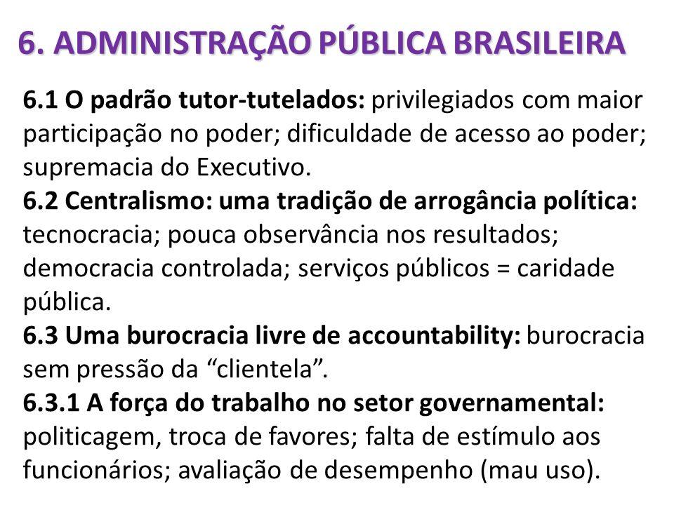 6. ADMINISTRAÇÃO PÚBLICA BRASILEIRA 6.1 O padrão tutor-tutelados: privilegiados com maior participação no poder; dificuldade de acesso ao poder; supre