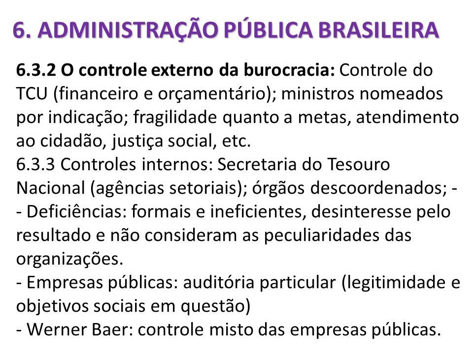 6. ADMINISTRAÇÃO PÚBLICA BRASILEIRA 6.3.2 O controle externo da burocracia: Controle do TCU (financeiro e orçamentário); ministros nomeados por indica