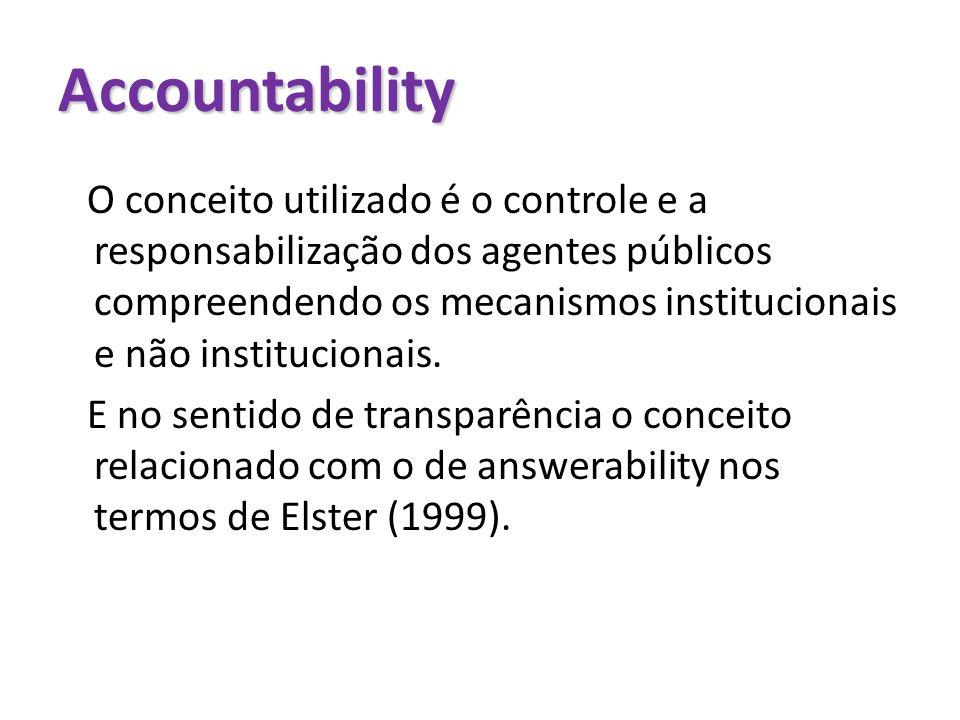 Accountability O conceito utilizado é o controle e a responsabilização dos agentes públicos compreendendo os mecanismos institucionais e não instituci