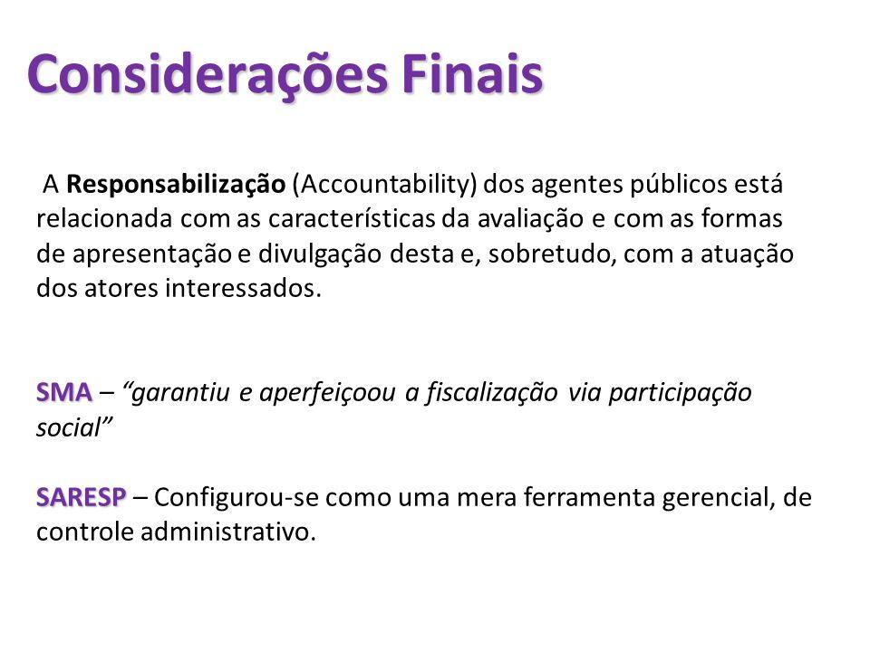 Considerações Finais A Responsabilização (Accountability) dos agentes públicos está relacionada com as características da avaliação e com as formas de
