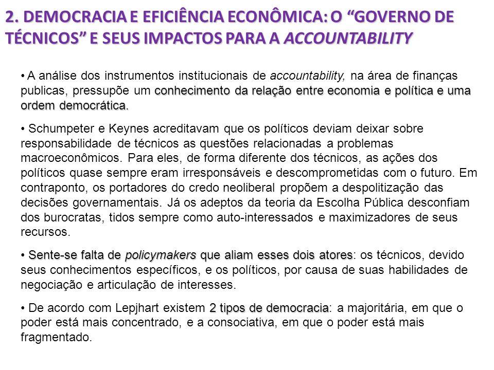 2. DEMOCRACIA E EFICIÊNCIA ECONÔMICA: O GOVERNO DE TÉCNICOS E SEUS IMPACTOS PARA A ACCOUNTABILITY conhecimento da relação entre economia e política e