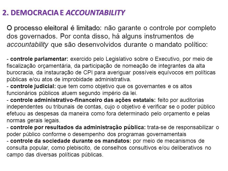O processo eleitoral é limitado O processo eleitoral é limitado: não garante o controle por completo dos governados. Por conta disso, há alguns instru